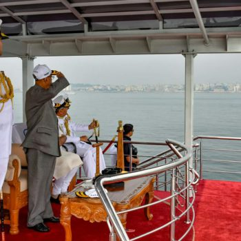 SUPREME COMMANDER OF INDIAN ARMED FORCES SHRI PRANAB MUKHERJEE REVIEWING INS SUDARSHINI FROM INS SUMITRA AT IFR 2016. A UNIQUE DISTINCTION, BOTH SHIPS BUILT BY GSL
