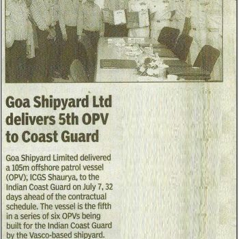 TOI news on Handing over YD 1222 ICGS Shaurya on 13th july 2017