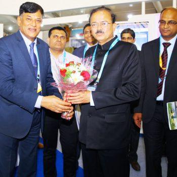 RAdm Shekhar Mital CMD GSL welcomed Hon'ble Raksha Rajya Mantri Dr Subhash Bhamre on his visit to GSL pavilion at DEFEXPO 2018 at Chennai.