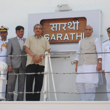 "Hon'ble Home Minister, Shri Rajnath Singh dedicated ICGS ""SARATHI"" (90 days ahead of schedule), the largest and most advanced new generation OPV to the Nation at an impressive ceremony held at GSL on 9th September,  2016 in the distinguished presence of Hon'ble Raksha Mantri, Shri Manohar Parrikar, Dy. Chief  Minister Francis D'souza, Director General Coast Guard Rajendra Singh."