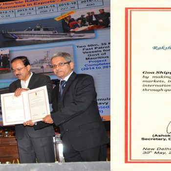 CMD (GSL) receiving Raksha Mantri's Award for Excellence 2014-15 for Best Performance in Exports from Hon'ble RM Shri Arun Jaitley