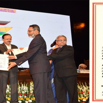 CMD (GSL) receiving Raksha Mantri's Award for Excellence 2014-15 for Design Efforts strong Own Initiative from Hon'ble RM Shri Arun Jaitley
