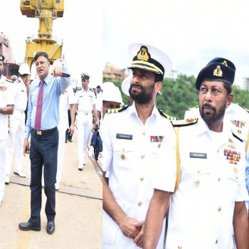 COMMANDER OF SRI LANKA NAVY REVIEWS 2ND OPV UNDER CONSTRUCTION AT GSL