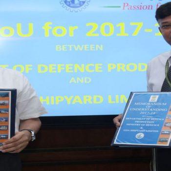 Secretary Defence Production Shri A K. Gupta RAdm Shekhar Mital during signing of MoU.