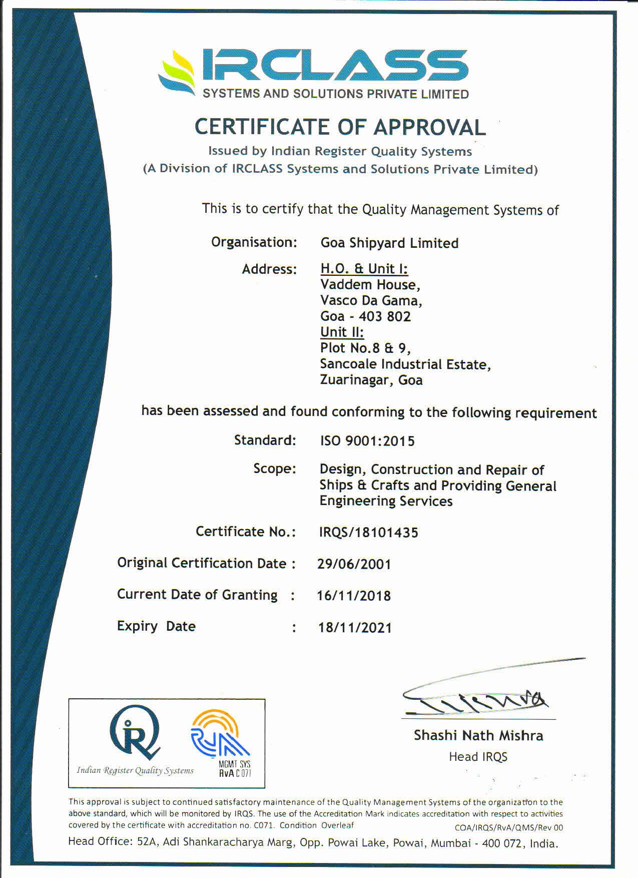 Quality Policy | Goa Shipyard Limited