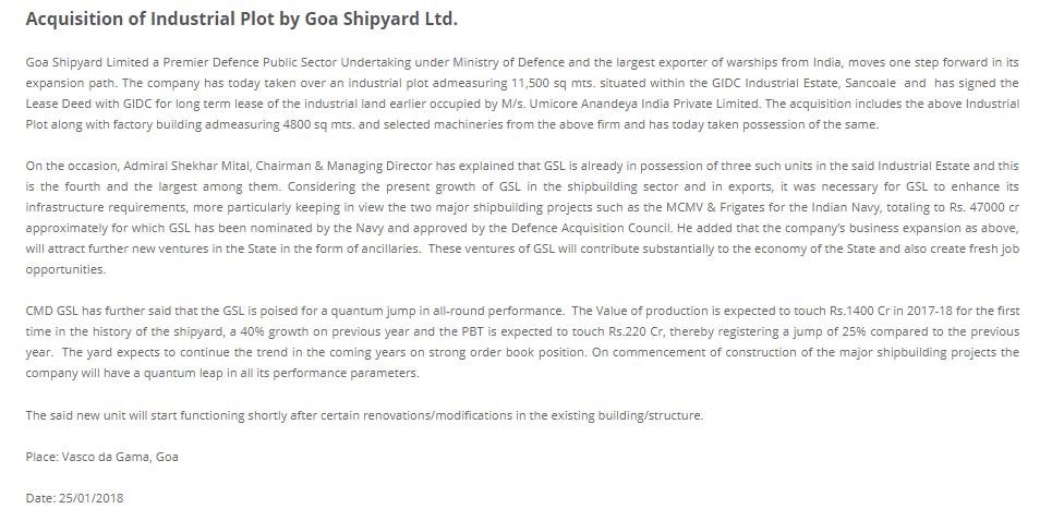 Acquisition of Industrial Plot by Goa Shipyard Ltd.