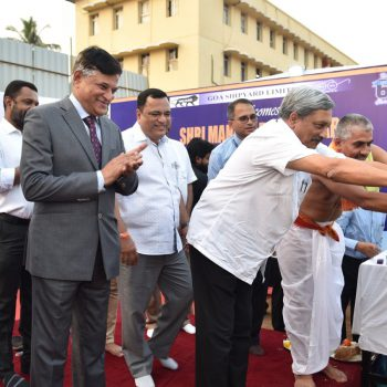 Chief Minister lays foundation stone for MCMV Command, Control & Design Office at Goa Shipyard on 12 January 2018