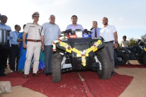 Goa Shipyard ltd as part of its CSR initiative handed over 2 ATVs (All Terrain Vehicle) on 1st Oct 19 to Goa Police. The ATVs were flagged off by Shri Pramod Sawant, Hon'ble Chief Minister of Goa in distinguished presence Shri Pranab Nanda, Director General of Goa Police & Cmde B B Nagpal, NM (Retd), CMD GSL