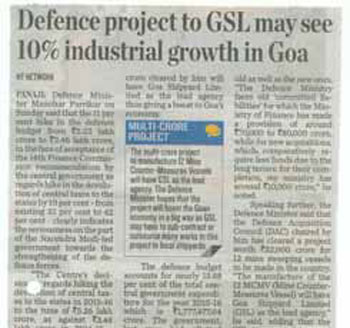 Defence project to GSL may see 10 industrial growth in Goa