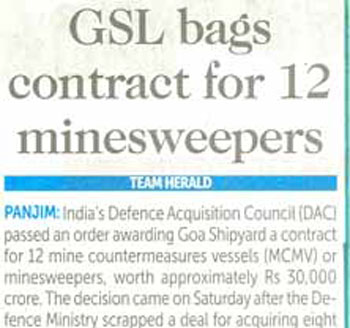 GSL bags contract for 12 minesweepers