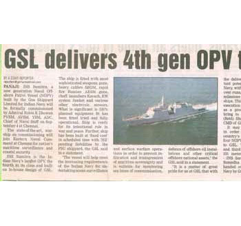 GSL delivers 4th gen OPV to Navy