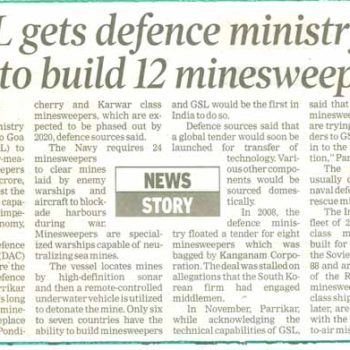 GSL gets defence ministrys nod to build 12 minesweepers