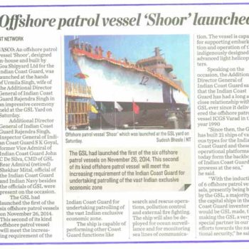 SECOND CG OPV SHOOR BUILT BY GSL LAUNCHED ON 21ST MAR 2015