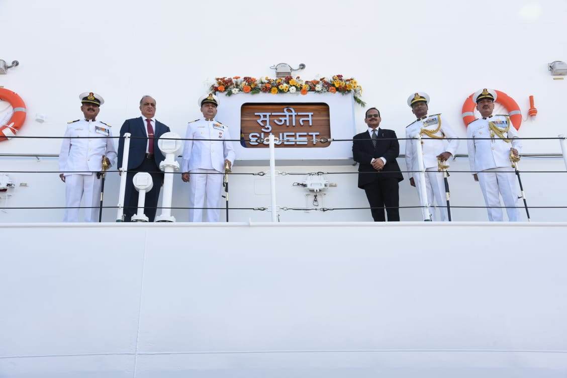 Secretary (Defence Production) Shri Raj Kumar, IAS dedicated GSL built Offshore Patrol Vessel ICGS Sujeet (2nd of the 5 OPV series) to the nation at GSL in the distinguished presence of DG K Natarajan, DGCG, CMD GSL, Senior Officials of MoD and Coast Guard.