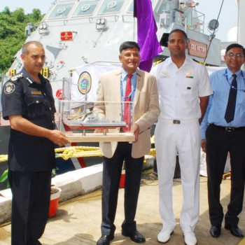 The Ship was ceremonially handed over by RAdm. Shekhar Mital, NM(Retd), CMD Goa Shipyard Ltd to  Mr.K.Jhugroo, Deputy Commissioner of Police, Mauritius Pollice Force, Government of Mauritius in the  distinguished presence of Mauritius officials Capt. Saurabh Thakur, Commandant, National Coast Gaurd,  Lt. Cdr Y. Pramod, CO, CGS Victory, Lt Cdr Girish Kumar HL, Project officer and Mr.S.P. Raikar, Director (Operations), GSL, Cmde. B.B Nagpal, Director (CPP & BD) besides other dignitaries.
