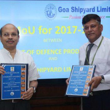 Secretary Defence Production Shri A K. Gupta & RAdm  Shekhar Mital during signing of MoU.