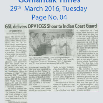 GSL delivers OPVICGS Shoor to Indian Coast Guard
