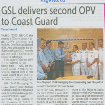 GSL delivers Second OPV to Coast Guard