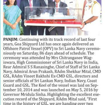 Herald News on handing over of YD 1217 on 22nd July 2017