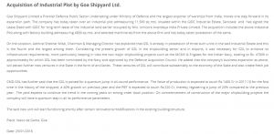 Acquisition of Industrial Plot by Goa Shipyard Ltd.