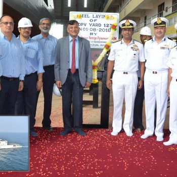 Keel of the third Coast Guard Offshore Patrol Vessel of the new  5 CGOPVs Project for the Indian Coast Guard was ceremoniously laid at Goa  Shipyard Ltd on 1st August 2018 by RAdm Philipose George Pynumootil, NM  Flag Officer Commanding Goa Area and Naval Aviation in the presence of  RAdm Shekhar Mital, CMD, GSL, DIG Himanshu Nautiyal (COMDIS), DIG Atul  Parlikar and Senior officials of the Indian Navy, Coast Guard and from GSL  were also present on the occasion.